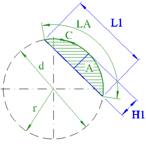 circle segment chord height