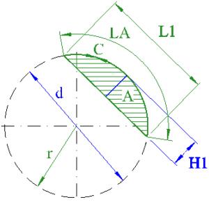 circle segment height diameter