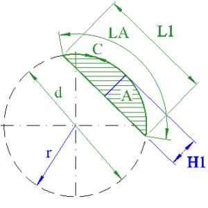 circle segment height radius